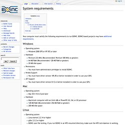 System requirements - BOINC