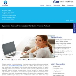 Systematic approach towards loan for quick financial payback