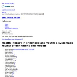 Health literacy in childhood and youth: a systematic review of definitions and models