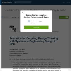 Scenarios for coupling Design Thinking with Systematic Engineering Design in NPD