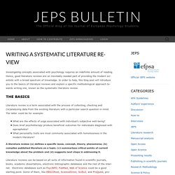 Writing a Systematic Literature Review – JEPS Bulletin