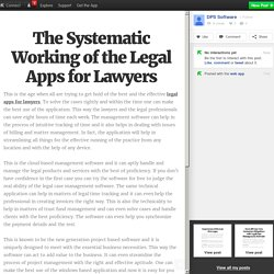 The Systematic Working of the Legal Apps for Lawyers