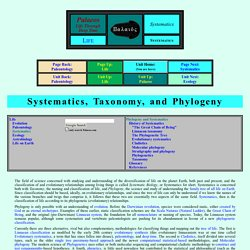 : Systematics, Taxonomy, and Phylogeny