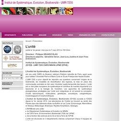 OSEB Origine, Structure et Evolution de la Biodiversité - UMR 7205 - L'unité