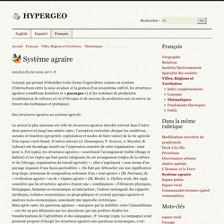 Système agraire - HYPERGEO