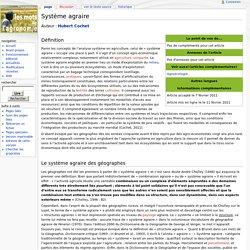 Système agraire - Les Mots de l'agronomie