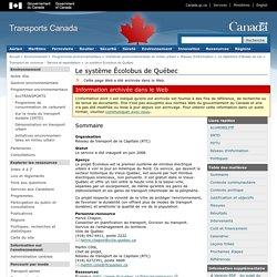 Le système Écolobus de Québec - Transports Canada