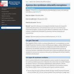FPRPE Aperçu des systèmes éducatifs européens