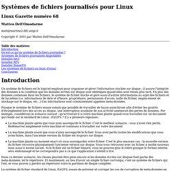 Systèmes de fichiers journalisés pour Linux