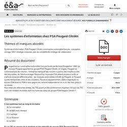 Les systèmes d'information chez PSA Peugeot Citroën