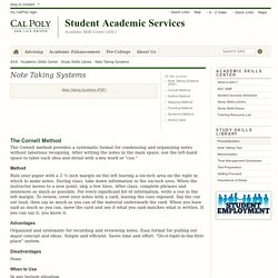 Note Taking Systems - Academic Skills Center: Study Skills Library - Cal Poly, San Luis Obispo