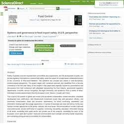 Food Control Available online 28 March 2012 Systems and governance in Food Import Safety: A U.S. Perspective (document accessibl