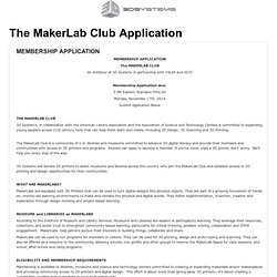 3D Systems Inc. - The MakerLab Club Application