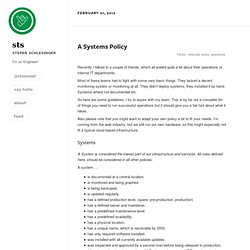 A Systems Policy | Stefan Schlesinger