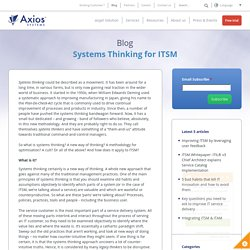 Systems Thinking for ITSM - Axios Systems