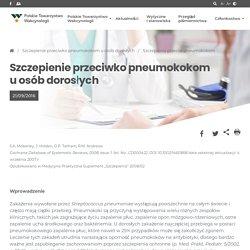 Szczepienie przeciwko pneumokokom u osób dorosłych - Polskie Towarzystwo Wakcynologii