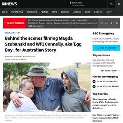 Behind the scenes filming Magda Szubanski and Will Connolly, aka 'Egg Boy', for Australian Story