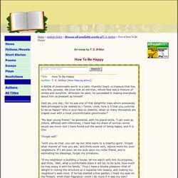 T. S. Arthur's Essay: How To Be Happy