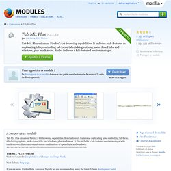 Tab Mix Plus :: Modules pour Firefox