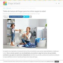 Tabla de tareas del hogar para los niños según la edad - Etapa Infantil