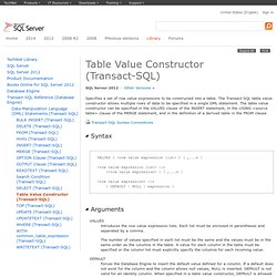 Table Value Constructor (Transact-SQL)
