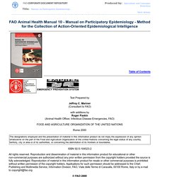 FAO - 2000 - FAO Animal Health Manual 10 - Manual on Participatory Epidemiology - Method for the Collection of Action-Oriented Epidemiological Intelligence Chapter 2: Identification and Prioritisation of Animal Health Issues