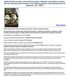 Meilleure alimentation animale: plus de nourriture pour l'homme : Incidence des traitements antiparasitaires contre la dou