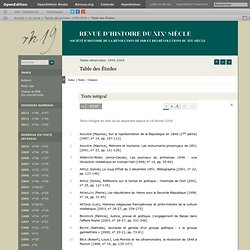 Revue d'histoire du XIX : Table d'Etudes de 1848 et Révolution du XXè. (RH19.revue.org)
