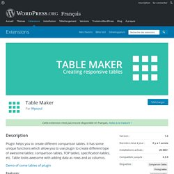 Table Maker — Extensions WordPress