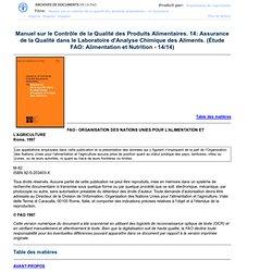 1997 - Manuel sur le Contrôle de la Qualité des Produits Alimentaires. 14: Assurance de la Qualité dans le Laboratoire d'A