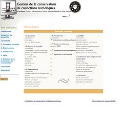 Gestion de la conservation des collections numériques