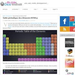 Table périodique des éléments HTML5