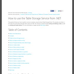How to use table storage - Windows Azure feature guide