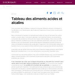 Tableau des aliments acides et alcalins - Dr Crisafi