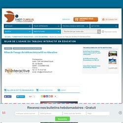 Bilan de l'usage du tableau interactif en éducation