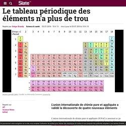 Le tableau périodique des éléments n'a plus de trou