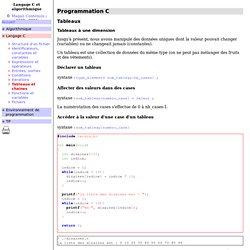 Tableaux et chaînes (cours C et algo)