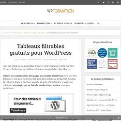 TablePress : plugin pour insérer des tableaux