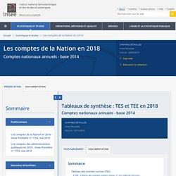 Tableaux de synthèse: TES et TEE en 2018 − Les comptes de la Nation en 2018