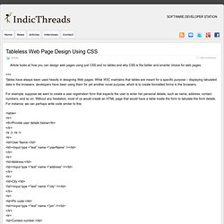 Tableless Web Page Design Using CSS » IndicThreads : Software Developer Station