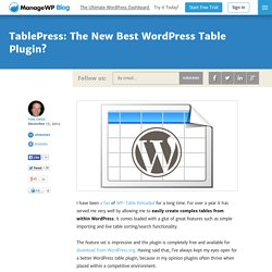 TablePress: The New Best WordPress Table Plugin? - ManageWP