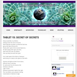 Tablet 15: Secret Of Secrets