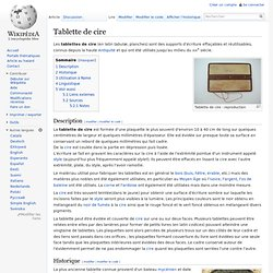 Tablette de cire