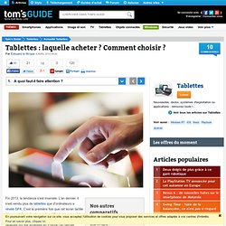 Tablette : Samsung, iPad ? Android ? Comment choisir ?