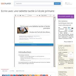 Ecrire avec une tablette tactile à l école primaire - PDF