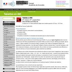 Tablettes en IME - Canopé Académie de Grenoble