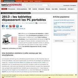 2013 : les tablettes dépasseront les PC portables