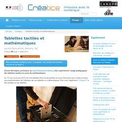 Tablettes tactiles et mathématiques