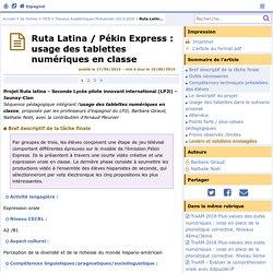 Ruta Latina / Pékin Express : usage des tablettes numériques en classe- Espagnol
