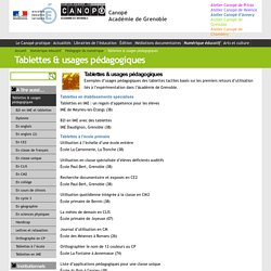 Tablettes & usages pédagogiques - Canopé Académie de Grenoble